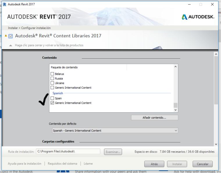 Instrucciones para corregir la instalación de la biblioteca de Revit 2016